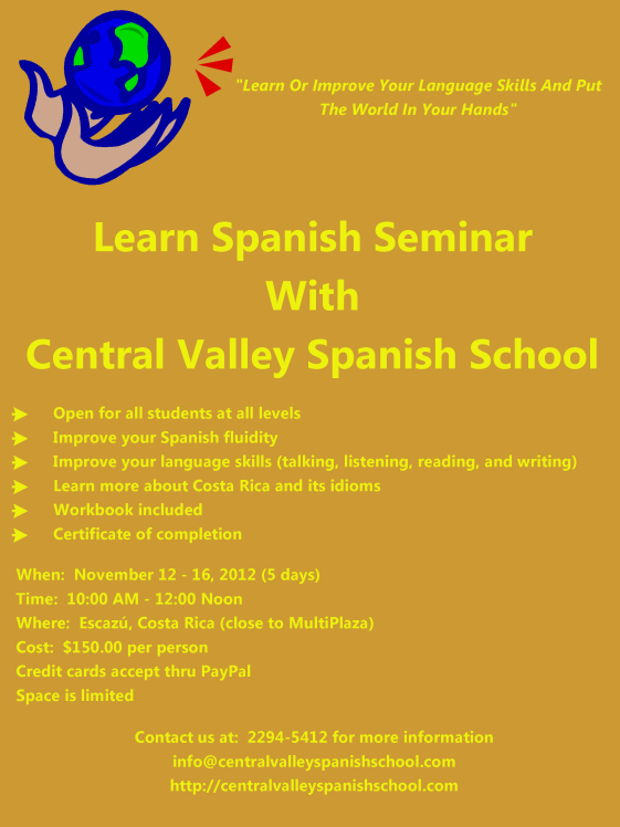 Learn or improve your Spanish seminar